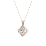 Floral Pattern Diamond Necklace 14K Gold (G,I1) - Rose Gold