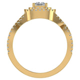 Twists Square Halo Princess Cut Engagement Ring 14K Gold 0.90 Ctw Diamonds (G,I1) - Yellow Gold
