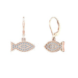 14k Fish 0.68 ct tw Pave Set Diamond Stud Earring (I,I1) - Rose Gold