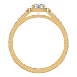 0.90 ct tw Cushion Halo Petit Engagement Ring 14K Gold (G,VS) - Yellow Gold