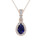 Pear Cut Sapphire Halo Diamond Necklace 14K Gold (G,I1) - Rose Gold