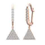 Triangle Diamond Dangle Earrings Dainty Drop Style 14K Gold 0.50 ctw (I,I1) - Rose Gold