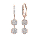 Hexagon Diamond Dangle Earrings Dainty Drop Style 14K Gold 1.05 ctw (G,SI) - Rose Gold