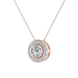Round Diamond Halo Pendant Bezel Setting 14K Gold (I,I1) - Rose Gold
