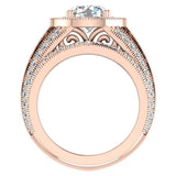 Large Moissanite Wedding Ring Set 18K Gold Halo Rings for women 8.00 mm 3.95 carat (G,VS) - Rose Gold