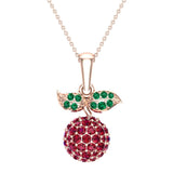 Red Garnet Dainty Cherry Charm Pendant Necklace 14k Gold 0.84 ctw - Rose Gold