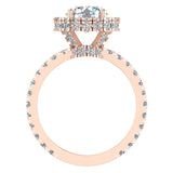 Moissanite Engagement rings 14K Gold Halo Rings for women 3.35 carat (I, I1) - Rose Gold