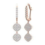 Cushion Diamond Dangle Earrings Dainty Drop Style 18K Gold 1.10 ctw (G,VS) - Rose Gold