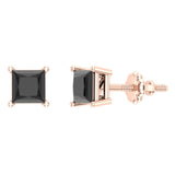 Princess Cut Black Diamond Earrings 14K Gold Studs Natural Diamonds (Black,AAA) - Rose Gold