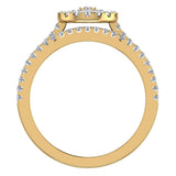 0.86 carat total weight Flower cluster Diamond Wedding Ring w/ Enhancer Bands Bridal set 18K Gold (G,VS) - Yellow Gold