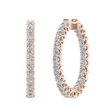 Exquisite 25.99 mm Diameter Inside Out Diamond Hoop Earrings 1.90 ctw 18K Gold Shared Prong Setting (G,SI) - Rose Gold