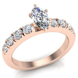 Engagement Rings for Women - Marquise Cut Diamond 18K Gold  0.50 ct GIA Certificate - Rose Gold