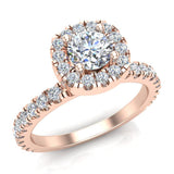 Petite Engagement rings for women Cushion Halo Round Brilliant diamond ring 18K Gold 1.05 carat (G,SI) - Rose Gold