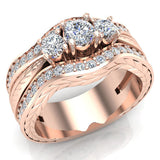 Past Present Future Diamond Wedding Ring Set 14K Gold (I,I1) - Rose Gold