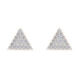 Triangle Shape Pave Diamond Stud Earrings 1/2 ctw 18K Gold (G,VS) - Rose Gold