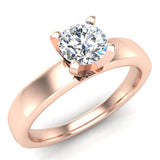 Solitaire Diamond Ring Fitted Band Style 14k Gold (G,SI) - Rose Gold
