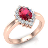 July Birthstone Ruby Marquise 14K Gold Diamond Ring 1.00 ct tw - Rose Gold