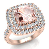 Pink Morganite Cushion Cut Double Halo Diamond engagement rings for women 14K Gold 3.00 ctw (G,SI) - Rose Gold