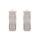 19.41 mm Diameter Three Row Pave Set Diamond Hoop Earrings 3.00 ctw 14K Gold (G,SI) - Rose Gold