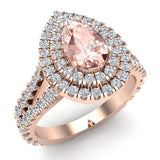 Pear Cut Pink Morganite Double Halo Engagement Ring 18K Gold (G,VS) - Rose Gold