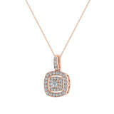 Cushion Twining Dainty Charm Necklace 14K Gold 0.41 Ctw (I,I1) - Rose Gold