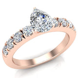 Engagement Rings for Women - Pear Cut Diamond 18K Gold  0.70 ct GIA Certificate - Rose Gold