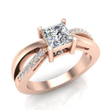 Infinity Shank Promise Diamond Ring 14K Gold 0.75 Ctw (I,I1) - Rose Gold