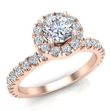 Petite Engagement rings for women Round Brilliant Halo diamond ring 18K Gold 1.05 carat (G,VS) - Rose Gold