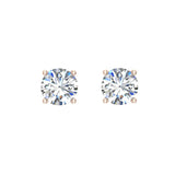 Diamond Earrings for Women Men Round Cut 14K Gold Diamond studs 1/4 - 1.00 ct tw Screw on posts (G, I2) - Rose Gold