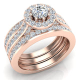 Exquisite 8 prong setting Round Cut Halo Wedding Ring Set w/ Enhancer Bands 18K Gold (G,VS) - Rose Gold