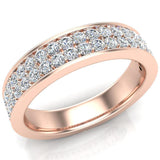 Men's Diamond Wedding Band 0.75 ctw Two-Row Half Way Men's 14K Gold 5mm (G,VS) - Rose Gold