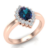 June Birthstone Alexandrite Marquise 14K Gold Diamond Ring 1.00 ct tw - Rose Gold