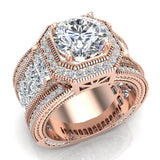 Large  Moissanite Engagement Ring 14K Gold Halo Rings for women 8.00 mm 6.85 carat (G,SI) - Rose Gold