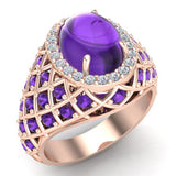 Cabochon Amethyst & Diamond Cocktail Ring Halo Style Dome Shape Fashion Ring 2.93 Carat Total Weight 18K Gold - Rose Gold