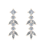 Elegant Stem Leaf Diamond Earrings 14K Gold 3.84 ctw (I,I1) - Rose Gold
