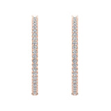 Exquisite 34.69 mm Diameter Inside Out Diamond Hoop Earrings 1.80 Ctw 14K Gold Shared Prong Setting (G,SI) - Rose Gold