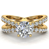 X Cross Split Shank Round Brilliant Diamond Engagement Ring 1.75 carat Total 18K Gold - Yellow Gold