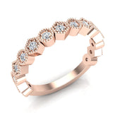 Stacking Circle & Hexagons Milgrain Diamond Wedding Band 0.34 ctw 14K Solid Gold (G,I1) - Rose Gold