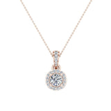 Round Brilliant Diamond Halo Pendant 14K Gold (G,I1) - Rose Gold