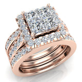 Princess Cut Quad Halo Wedding Ring Set w/ Enhancer Bands Bridal 14K Gold (I,I1) - Rose Gold