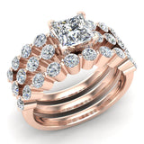 Princess Cut 2.07 Carat Shared-Prong setting Band Wedding Bridal Ring Set 18K Gold (G,VS) - Rose Gold