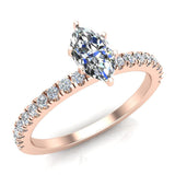 Petite Engagement rings for women Marquise Cut diamond ring 18K Gold 0.65 carat (G,VS) - Rose Gold