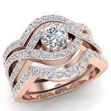 Criss Cross Intertwined Diamond Wedding Ring Set w/ Enhancer Bands 1.20 Carat 14K Gold (G,I1) - Rose Gold