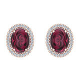 4.34 ct tw Red Garnet & Diamond Cabochon Stud Earring In 14k Gold (G, I1) - Rose Gold