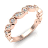 Stacking Circle & Marquee designer Milgrain Diamond Wedding Band 0.22 Ctw 14K solid Gold (I,I1) - Rose Gold