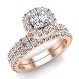 Petite Wedding rings for women Cushion Halo Round Brilliant Diamond Bridal Set 18K Gold 1.50 carat (G, SI) - Rose Gold