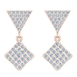 Square Diamond Dangle Earrings 18K Gold 0.80 ctw (G,VS) - Rose Gold