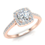 0.90 ct tw Cushion Halo Petit Engagement Ring 14K Gold (I,I1) - Rose Gold