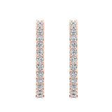Exquisite 25.99 mm Diameter Inside Out Diamond Hoop Earrings 1.90 ctw 18K Gold Shared Prong Setting (I,I1) - Rose Gold