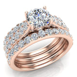 Accented Diamond Solitaire Wedding Ring Set w/ Enhancer Bands Bridal 1.90 Carat Total 18K Gold (G,VS) - Rose Gold